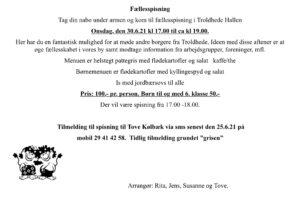 Fællesspisning i hallen - husk tilmelding @ Troldhede hallen | Videbæk | Danmark